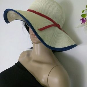 Accessories - Fancy Summer Hat with Red Ribbon and Blue Edges